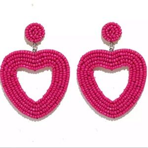 NWT Beaded Pink Heart Drop Earrings